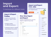 use 3 import/export interfaces to complete business tasks