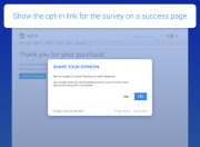 let google interact with customers on a success page
