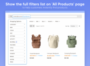 show full filters list on all products page