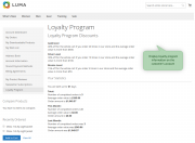 show loyalty program information in a customer account