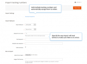 mass order actions import tracking numbers