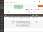 all created payment restriction rules are displayed on the grid