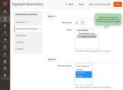 specify customer groups and store views