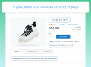 display meta tags variables on product page