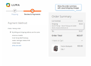 display the order summary with saved shipping charges