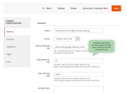 configure your sitemaps, specifying parameters