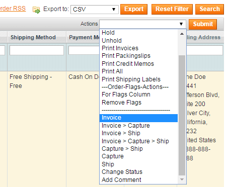 magento mass order actions
