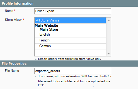 magento fast order export