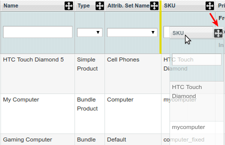 magento admin product grid