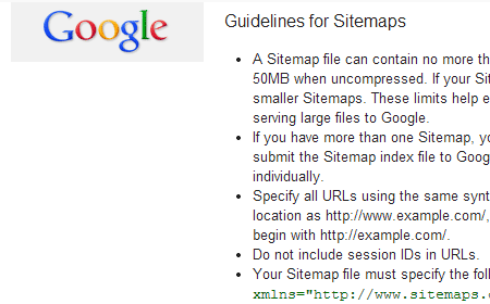 google sitemap guidelines