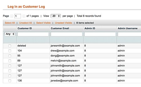 Magento Login as Customer Log