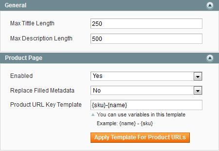 magento meta tags templates URLs