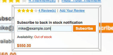magento out of stock products subscription for guest customers