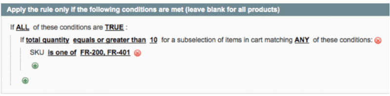 Rules for percentage off only if cart contains 10 and more items in Magento