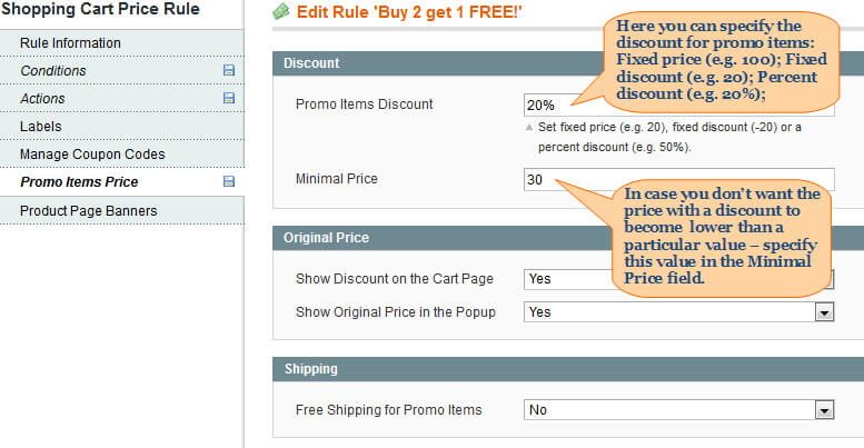 auto add promo items with products. discount settings
