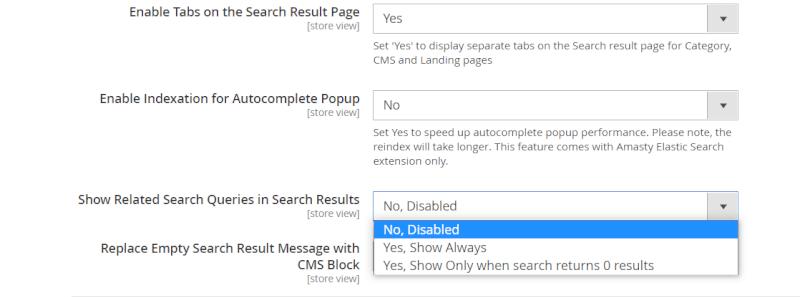elastic search advanced search settings
