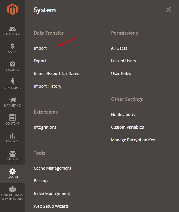 admin-system-import-magento
