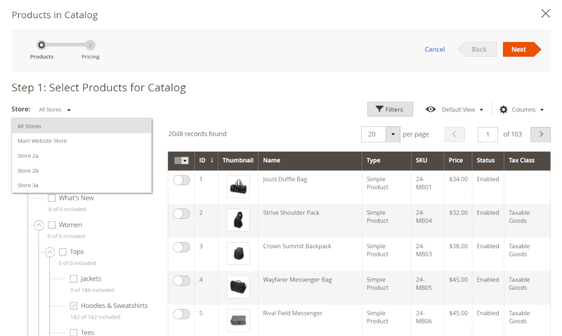 shared catalog pricing scope